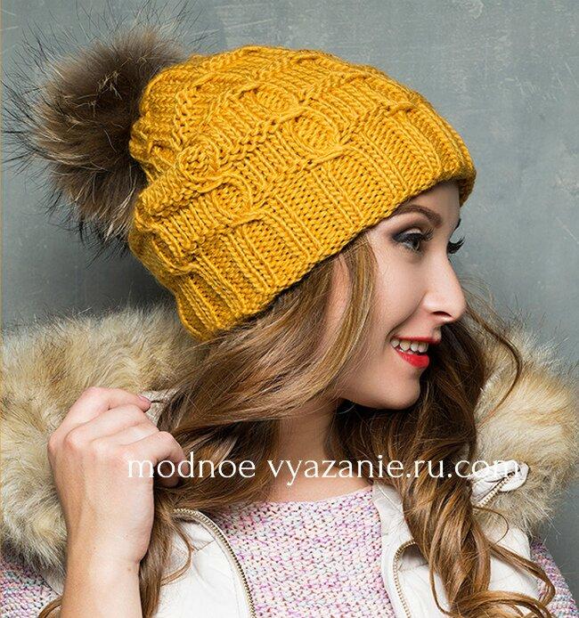 описание и схемы для вязания модных шапок спицами Modnoe Vyazanie