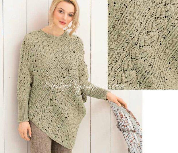 Пуловер-пончо связанный спицами необычным способом, пончо спицами