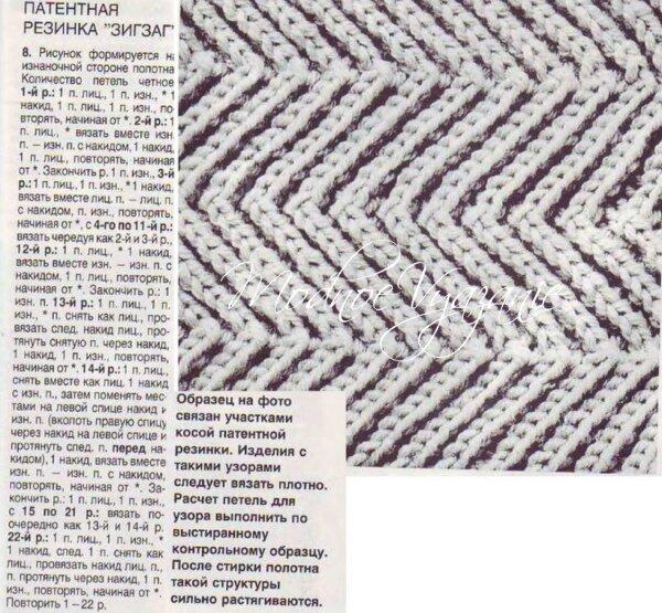 Вязание патентной резинкой кос и зигзагов схема описание фото