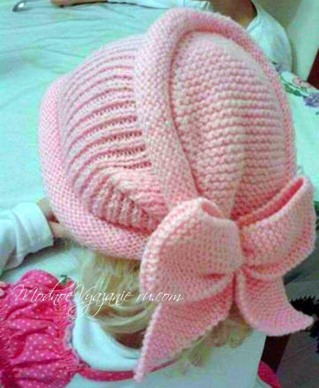 оригинальная шапочка спицами для девочек Modnoe Vyazanie Rucom