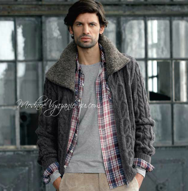 Вязаная мужская куртка с «меховым» воротником - Modnoe ...