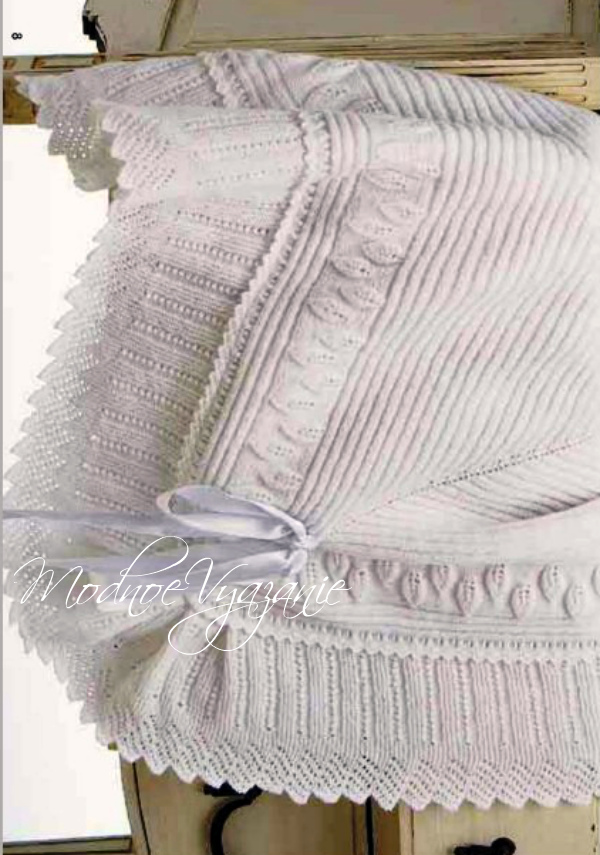 красивый плед для новорожденного спицами Modnoe Vyazanie Rucom