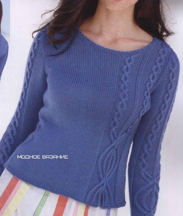 f5552ec68a5 Пуловер спицами с вставками из рельефной косы - Modnoe Vyazanie ru.com