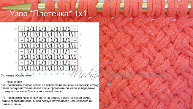 Узор и схема вязания спицами плетенка 340