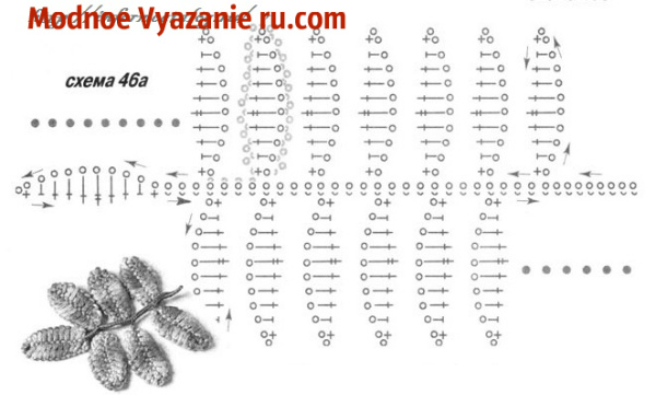 Вязание крючком схема гроздь рябины